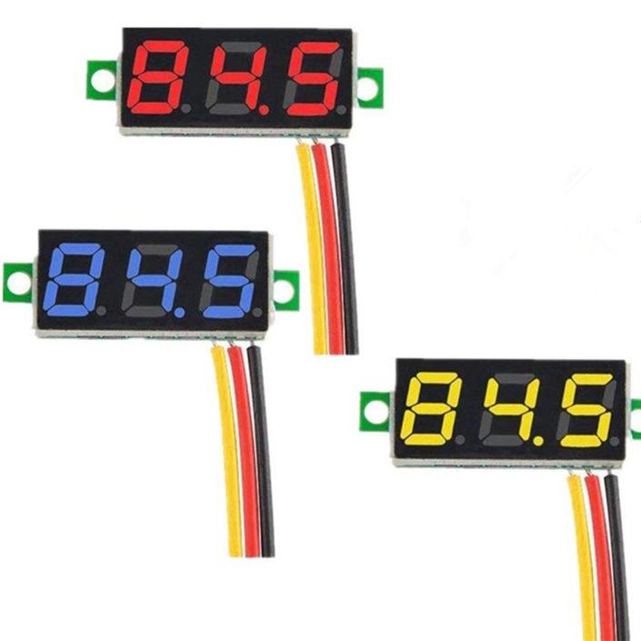 """3 wire 0.28"""" DC 0-100V Digital Voltmeter LED Voltage Volt Meter"""